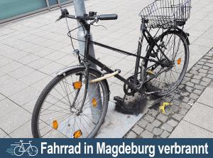 Verbranntes Fahrrad in Magdeburg am Alten Theater